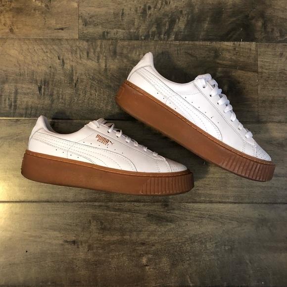 PUMA Basket Platform Sneaker, White/Copper, 6